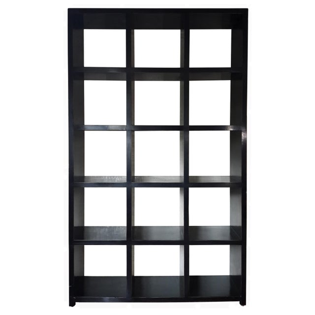 Asian Modern Four Hands Black Lacquered Elm Bookcase For Sale - Image 11 of 11