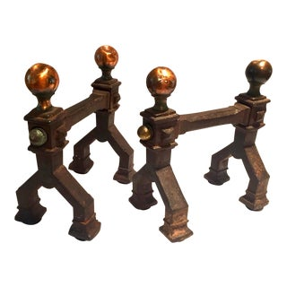 Gothic Art Deco Cast Iron Fireplace Tool Stands - a Pair For Sale