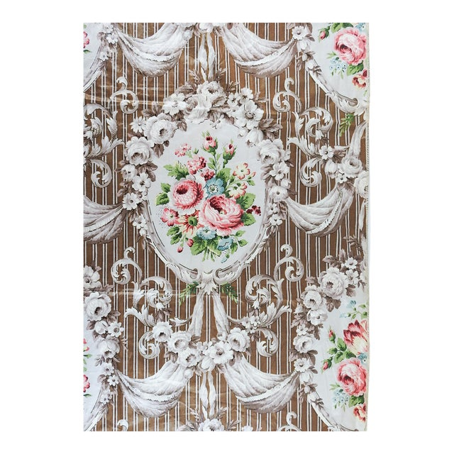 Vintage Schumacher Halworth Floral Toile Chintz Fabric Sample For Sale