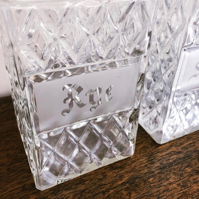 1950s Vintage Crystal Scotch and Rye Decanters For Sale - Image 5 of 8