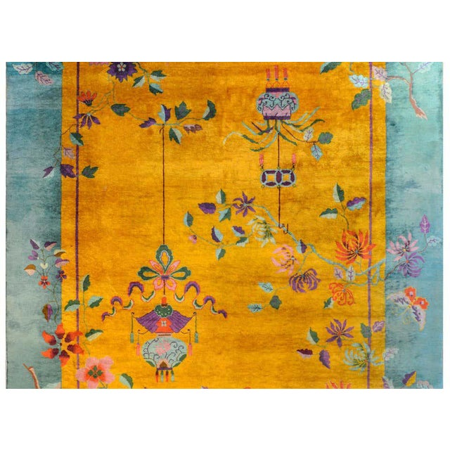 Vivid Early 20th Century Chinese Art Deco Rug For Sale - Image 4 of 12