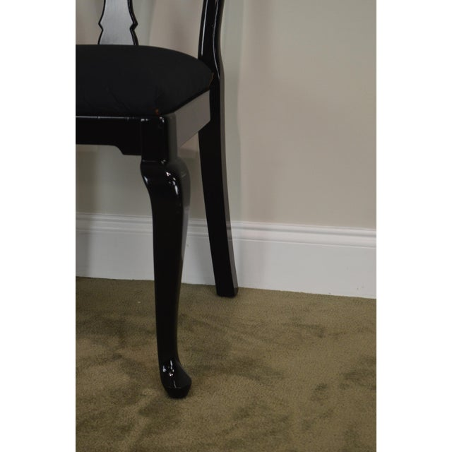 Black Lacquer Set of 4 Queen Anne Dining Chairs For Sale - Image 11 of 13