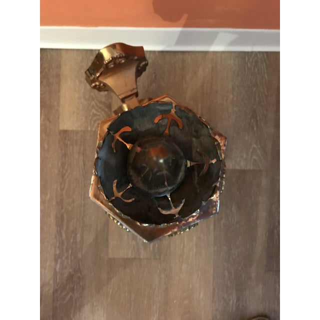 1950s Six Sided Copper Wall Mount Lantern For Sale - Image 9 of 10