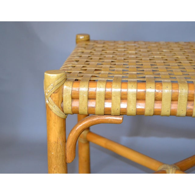 Metal McGuire Mid-Century Modern Bamboo and Hand-Woven Leather Top Side Table / Stool For Sale - Image 7 of 13