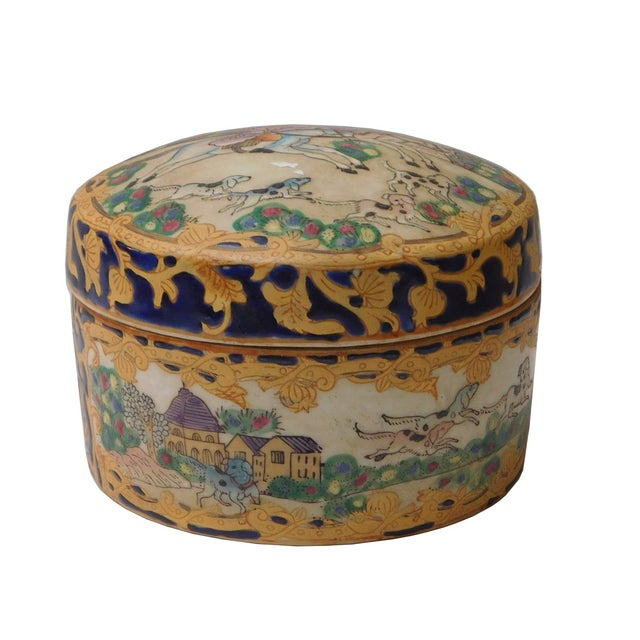 Oriental Porcelain Dominos Dog Container Box - Image 3 of 6