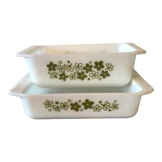 Vintage Pyrex Bakeware Spring Blossom Glass Pans - Set/2