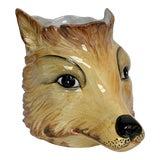 Image of Italian Porcelain Fox Head Vase or Cachepot For Sale