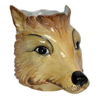 Italian Porcelain Fox Head Vase or Cachepot For Sale