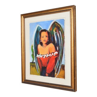 "Signed Jill Logan ""Angel"" Modern Acrylic Painting on Paper For Sale"