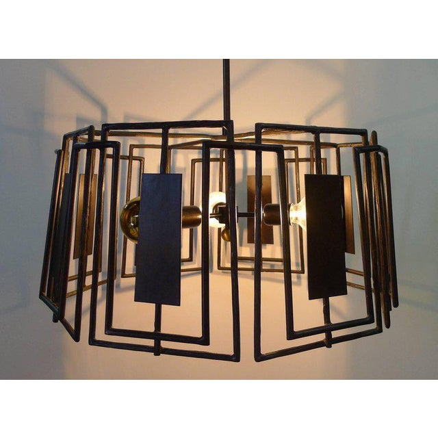 Contemporary Trellis Chandelier Faux Bois Iron by Paul Marra For Sale - Image 3 of 10