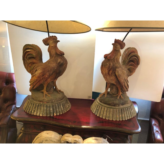 1970s Dramatic Rooster Lamps From Montana Lodge With Shades - a Pair For Sale - Image 5 of 13