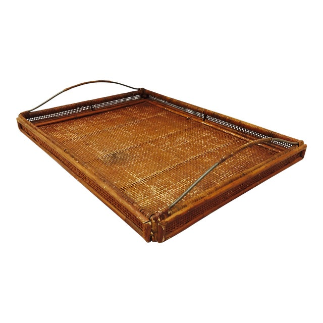 Vintage Woven Cane & Brass Serving Tray For Sale