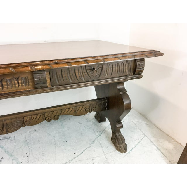 1920's Carved Walnut Library Table / Desk - Image 4 of 7