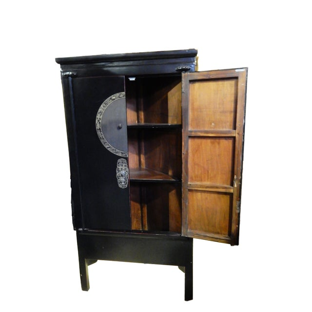 black lacquer corner armoire chairish. Black Bedroom Furniture Sets. Home Design Ideas