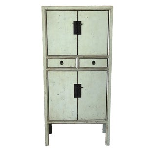 Custom Ming Style Light Green Lacquer Armoire