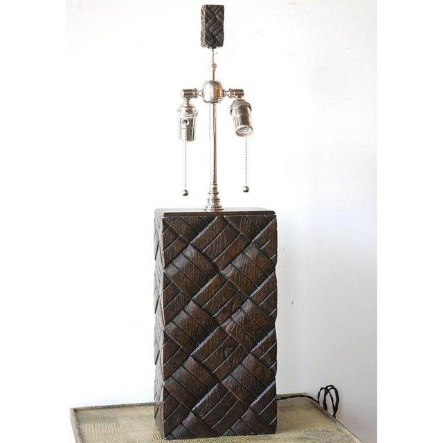 Basket Weave Wood Table Lamp - Image 2 of 7