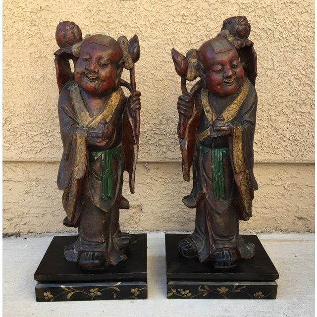 HeHe Erxian Twins Chinese Carved Wood Statues - A Pair For Sale - Image 11 of 11