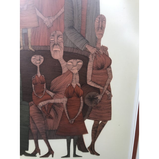 Mid-Century Modern Vintage Mid-Century Abstract Family Portrait Print Block Print Lithograph Signed and Numbered For Sale - Image 3 of 10