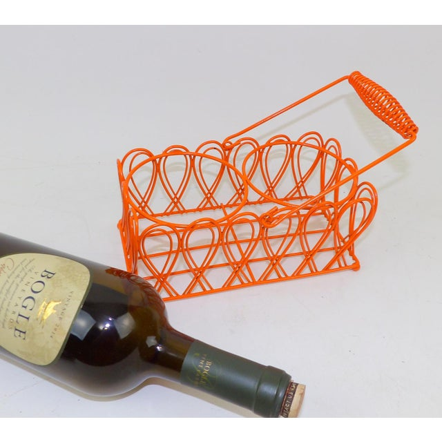 "Great vintage metal wine rack. Bright pop of orange. Wine bottle caddy, centerpiece or counter display. 4"" Wide 3"" Tall 8""..."