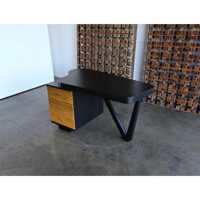 Yellow Rare Desk by Paul Frankl for Johnson Furniture, Circa 1950 For Sale - Image 8 of 8