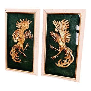 Vintage Framed Gold Fighting Birds - A Pair For Sale