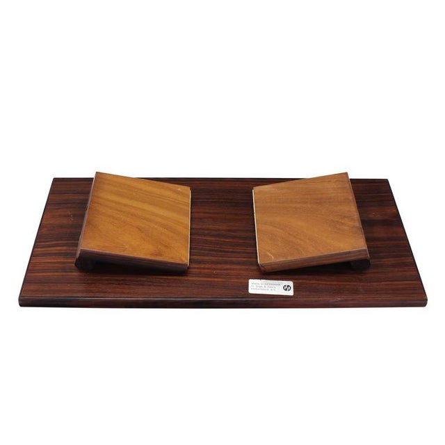 Mid-Century Modern Rosewood and Tile Top Folding Legs Serving Tray For Sale - Image 10 of 11