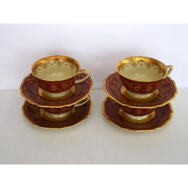 Heinrich & Co. Heinrich and Co. Selb H & C Bavaria German Porcelain Red and Gold Encrusted Tea Cup and Saucer - Service for 4 For Sale - Image 4 of 12