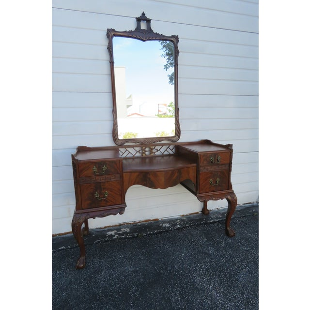 Chippendale Ball and Claw Feet Flame Mahogany Vanity Table and Mirror For Sale - Image 13 of 13
