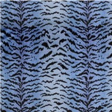 Image of Scalamandre Tigre, Blues & Black Fabric For Sale