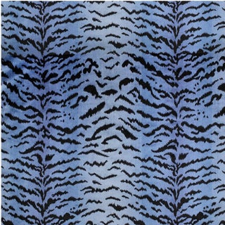 Scalamandre Tigre, Blues & Black Fabric For Sale