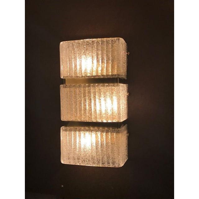 "Italian wall lights with clear Murano glass panels with textured granular effect produced in ""Graniglia"" technique mounted..."