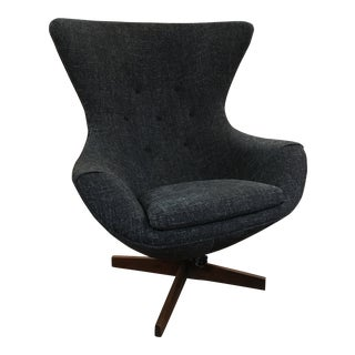 Adrian Pearsall Wingback Gray Upholstered Arm Chair For Sale