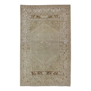 Vintage Turkish Oushak Rug With Flower Motifs in Pale Green, Brown and Tan For Sale