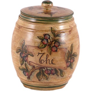 Italian Hand Painted Ceramic Tea Canister For Sale