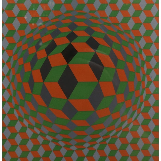 Printmaking Materials Vintage Victor Vasarely Geometric Abstract Serigraph, Signed For Sale - Image 7 of 10