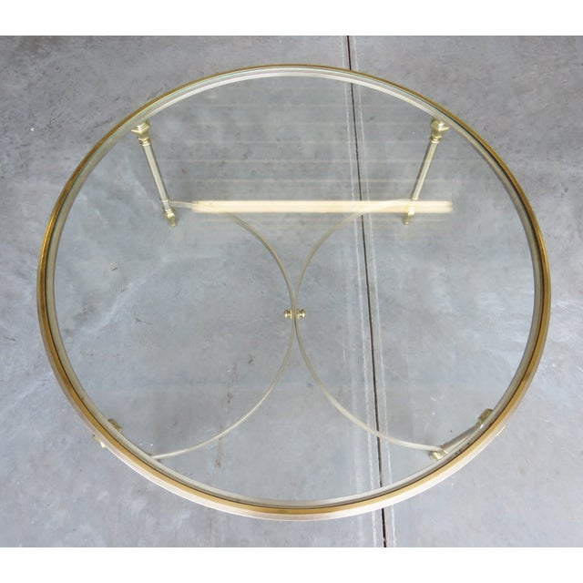 Jansen Style Chrome & Brass Glasstop Coffee Table - Image 3 of 3