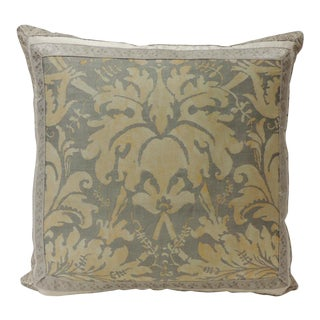 Fortuny Antique Decorative Pillow Lucrezia Yellow on Silvery Gold For Sale