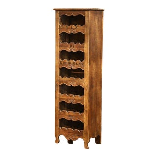 "Louis XV Carved 28 Wine Bottle Holder Cabinet With ""Vin De Bourgogne"" For Sale"