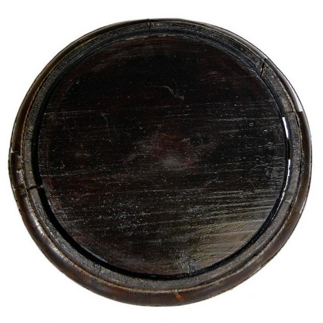 Antique Hand-Carved Dark Chinese Wooden Offering Basket from the, 19th Century For Sale In New York - Image 6 of 8