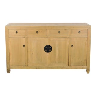 "Antique Chinese Scrubbed Pine 61"" Long Sideboard Buffet For Sale"