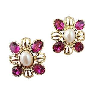 1980s Monet Faux-Ruby Rhinestone & Faux-Pearl Earrings For Sale