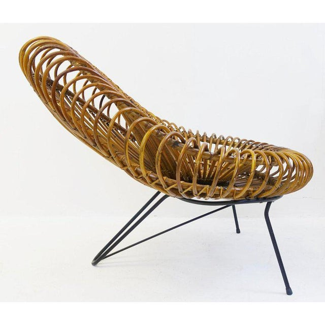 Franco Albini Sculptural Rattan Lounge Chair by Franco Albini For Sale - Image 4 of 8