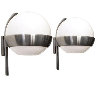1960s Pair of Big Rounded Wall Lights by Lumi, Brass and Opaline - Italy For Sale