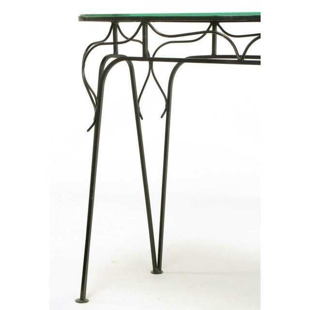 Black Salterini Attr. Black Wrought Iron & Mirror Top Petite Console For Sale - Image 8 of 10