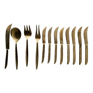Set of 12 - Brass / Gold Serveware For Sale