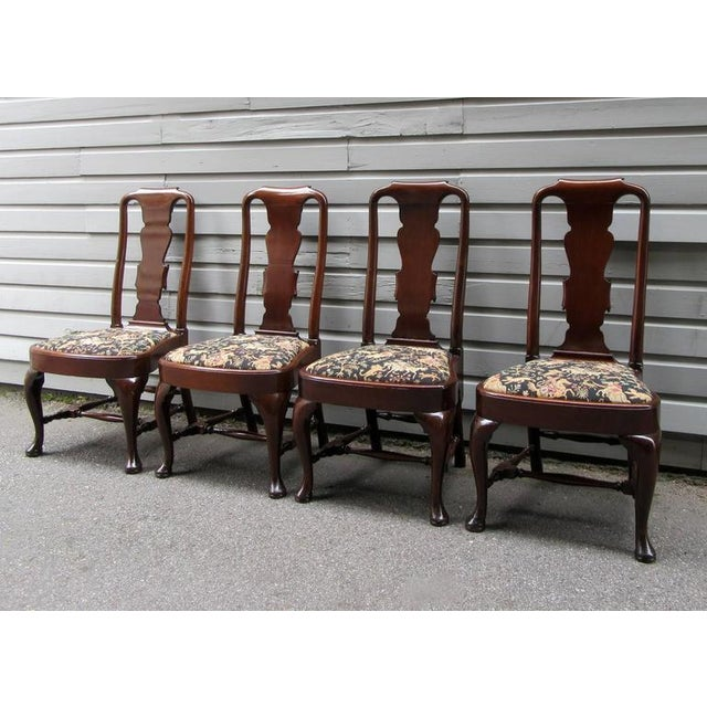 Set of Four 19th Century English Queen Anne Mahogany Splat Back Dining Chairs - Image 10 of 10