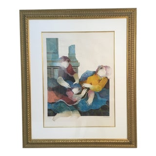1980s Alvar Framed Embossed Lithograph Print For Sale