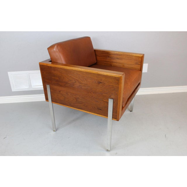 """Architectural series """"Cube Chair"""" in walnut, stainless steel, and leather by Harvey Probber. This exceptional..."""