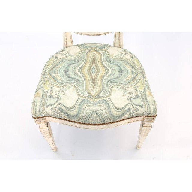 Fabric Single Painted Italian Classical Style Side Chair For Sale - Image 7 of 8