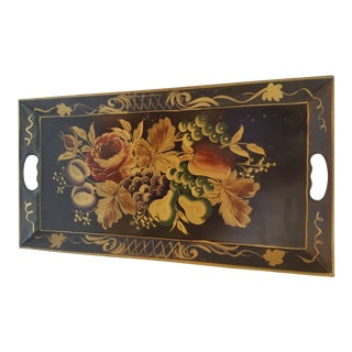 1940s Hand Painted Fruit & Floral Toleware Tray